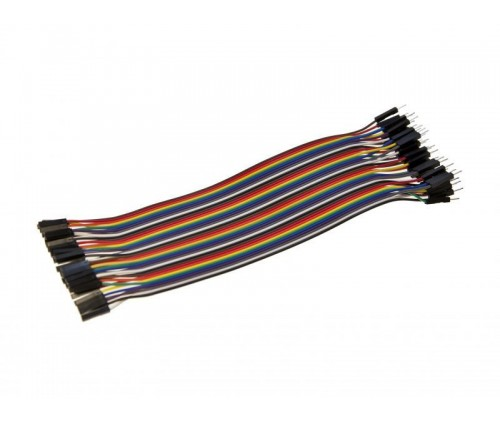 2.54mm Pitch 40 Pin 40 Way M/F Connector Rainbow Ribbon Jumper Wires 20cm