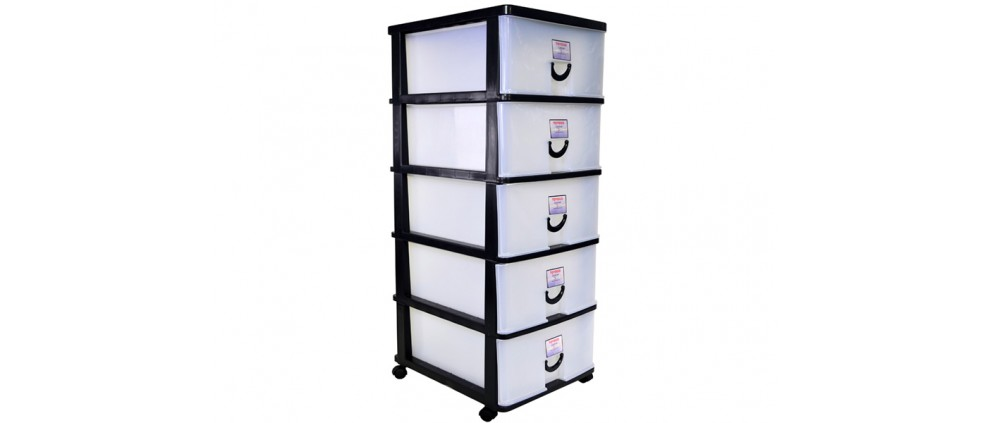 Plastic Storage Cabinet / Drawer With Wheels (5 Tier) (804-5)