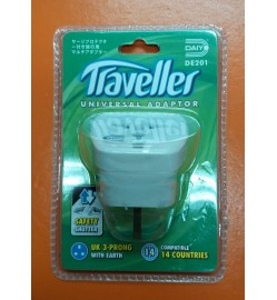 UK 3-Prong with Earth Traveller Universal Adapter DE 201