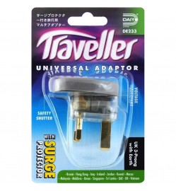 UK 3-Prong W/Earth Traveller Universal Adapter with Surge Protector DE 233