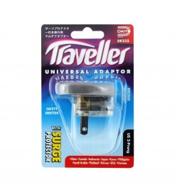 US 2-Prong Traveller Universal Adapter with Surge Protector DE 235