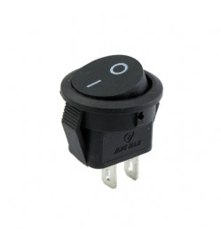 20mm 2-Pin Rocker Round Switch - Black, On/Off