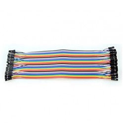 40 Way F/F Rainbow Ribbon Jumper Cable Wires - 10cm