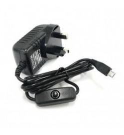 5V 3A Adapter micro B c/w Switch (UK Plug)