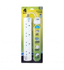 DE 284 LED 4 Way Socket Strip With Surge 3M