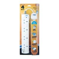 DE 284 LED 4 Way Socket Strip With Surge 6M