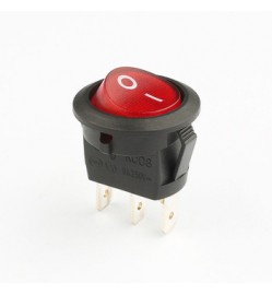Round Rocker Switch 20mm,3-Pin, SPDT, On/Off, Red, with Neon Light