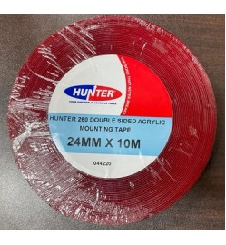 HUNTER DOUBLE SIDED CLEAR ACRYLIC 260 24MM X 10MTR