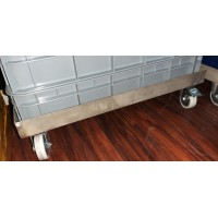 62CM x 43CM Stainless Steel Base with 4 wheels.
