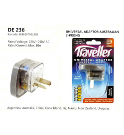 Australia 2-Prong Traveller Universal Adapter with Surge Protector DE 236