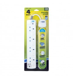 DE 284 LED 4 Way Socket Strip With Surge 3M