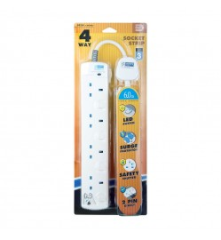 DE 284 LED 4 Way Socket Strip With Surge 6M