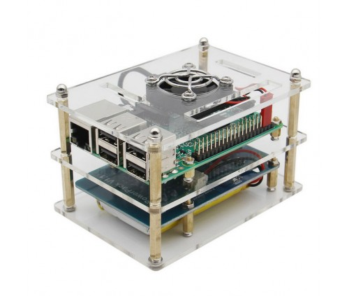 Raspberry Pi 3 Model B with Lithium Battery Expansion Board including Double layer acrylic enclosure and mini fan