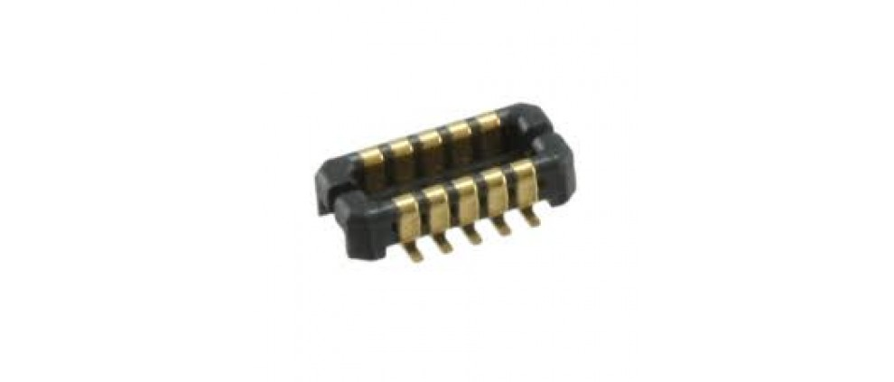10 Position Connector Receptacle, Center Strip Contacts Surface Mount Gold