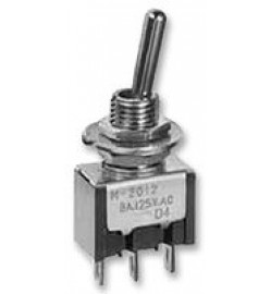 NKK SWITCHES  M2012SS1W01  Toggle Switch, M Series, Non Illuminated, SPDT, On-None-On, Panel, 6 A